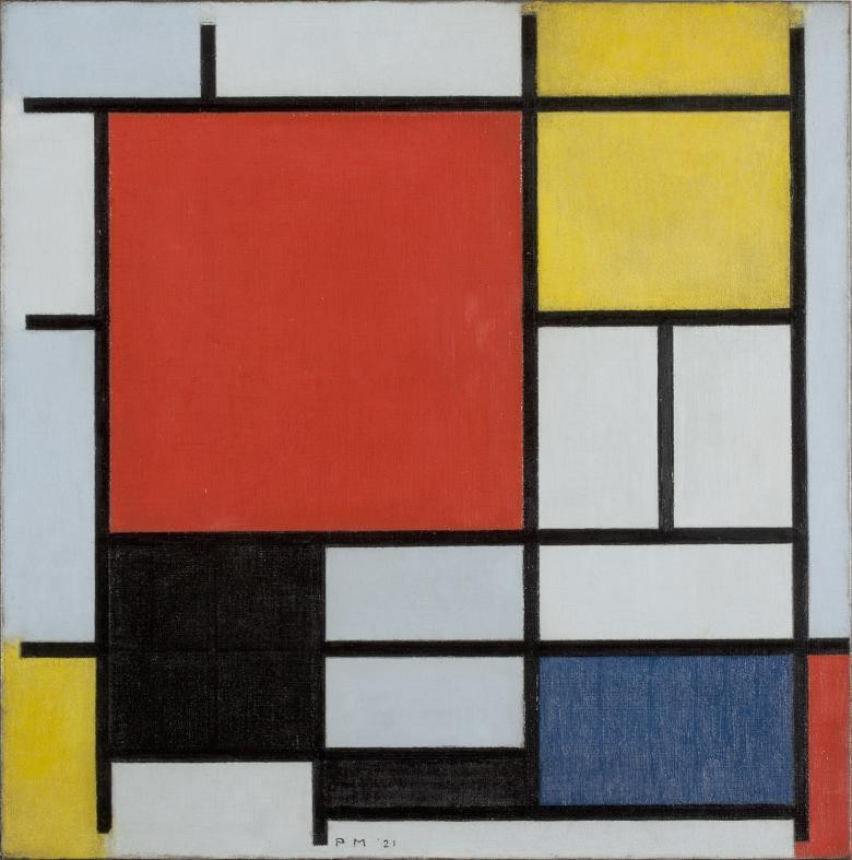 Piet Mondrian (1872-1944), Composition with large red plane, yellow, black, gray and blue. Courtesy of Kunstmuseum Den Haag.